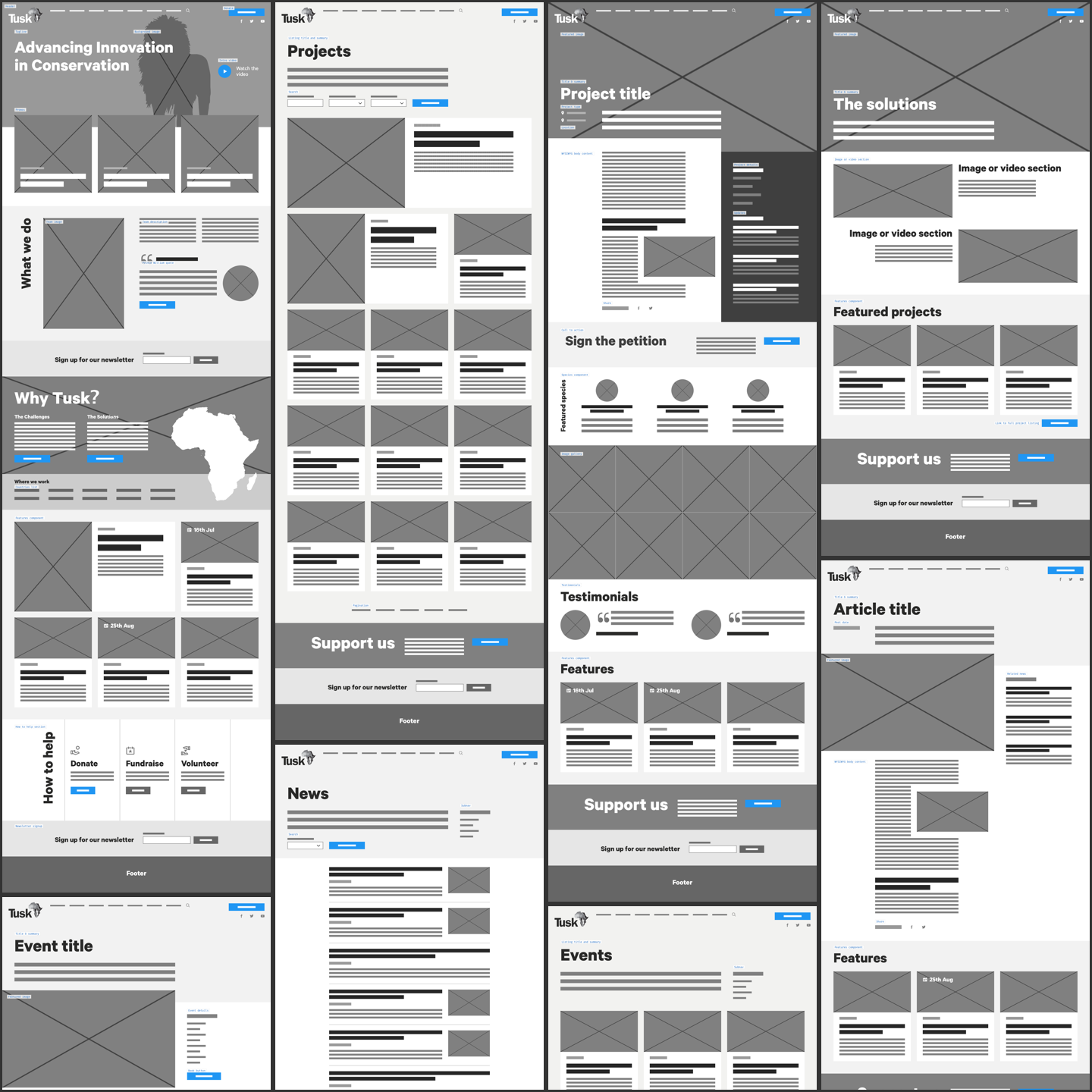 Tusk Wireframes